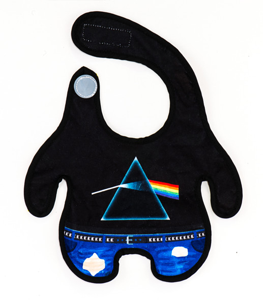 pink floyd baby bib, rock and roll baby bib, cool baby gift, parents who love pink floyd, classic rock baby gift, future rocker, dark side of the moon baby bib, cool baby shower gift, little body bib