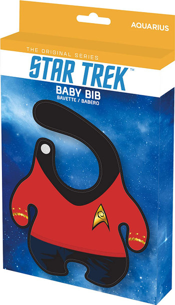 Star Trek Bib, Trekky baby gift, geeky baby shower gift, star trek uniform baby bib, parents who love Star Trek, Beam me up scotty baby, Captain kirk baby, funny baby gift for nerds, red uniform, Scotty baby bib in packaging