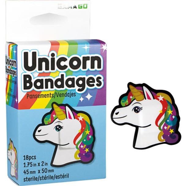 Unicorn Bandaids, unicorn bandages, cute bandaids for kids, cool kids bandages, stickers for cool kids, magical gift for kids, fun gift for kids who love unicorns, bandaids for little girls, Character bandages, colorful unicorn bandages, 18 in box