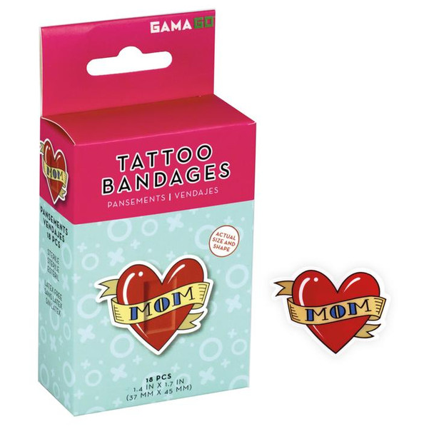 Mom Tattoo Bandaids, Pretend tattoo bandages, heart shaped bandages, cute bandaids for kids, fake tattoo bandages, stickers for cool kids, funny gift for little kids, fun gift for parents who have tattoos, bandaids for cool kids, Character bandages, Heart Mom Tattoo bandages, 18 in box