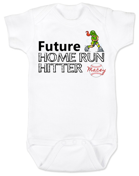 Future Home Run Hitter baby girl Bodysuit, Future Softball Player, Play Ball, Baseball, Softball, Sports baby onsie