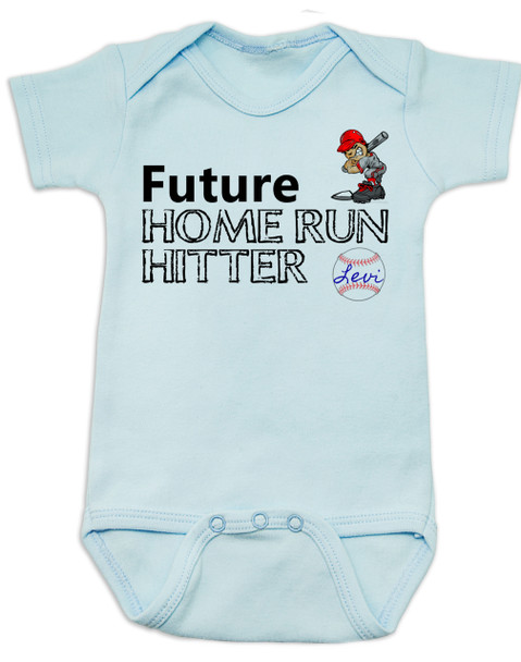 Future Home Run Hitter baby boy Bodysuit, Future Baseball Player, Play Ball, Baseball, Softball, Sports baby onsie, blue