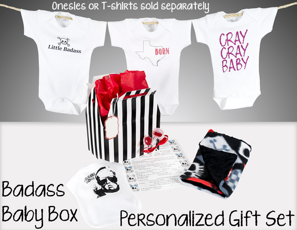 Badass Baby Box Personalized Gift Set. Best Baby Shower Gift Ever. Punk Rock Baby Gift Includes: wrapping for any Vulgar Baby Bodysuits or T-Shirts of your choice, a Vulgar Baby Bib, a Badass Burp Cloth, 2 organic lollipops and a funny baby shower game Madlib. All wrapped up in beautiful packaging. A ready made, personalized and unique gift for any new parents.