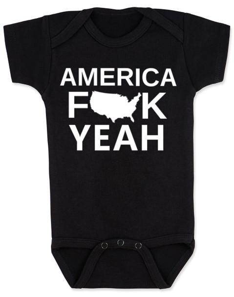 America Fuck Yeah Baby Bodysuit, American pride, funny patriotic baby onsie, badass american baby, 4th of july Bodysuit, memorial day Bodysuit, veterans day Bodysuit, Team America song, Team America: World Police Movie, black