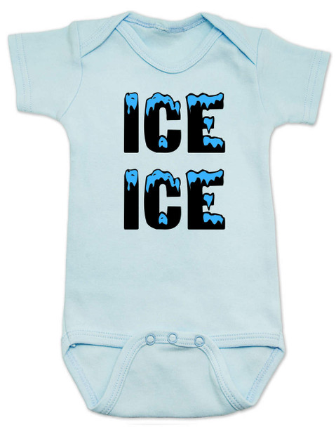Ice ice baby, vanilla ice baby Bodysuit, punny baby, funny baby onsie, winter baby, old school hip hop baby, blue