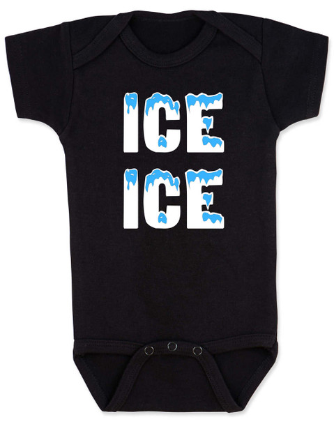 Ice ice baby, vanilla ice baby Bodysuit, punny baby, funny baby onsie, winter baby, old school hip hop baby, black