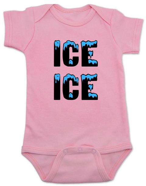 Ice ice baby, vanilla ice baby Bodysuit, punny baby, funny baby onsie, winter baby, old school hip hop baby, pink