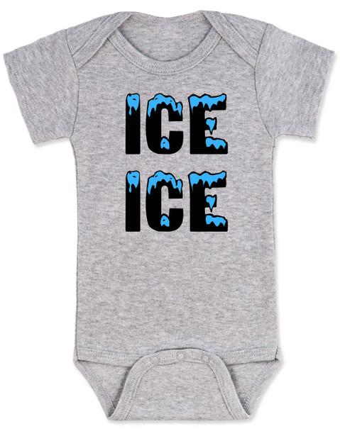 Ice ice baby, vanilla ice baby Bodysuit, punny baby, funny baby onsie, winter baby, old school hip hop baby, grey