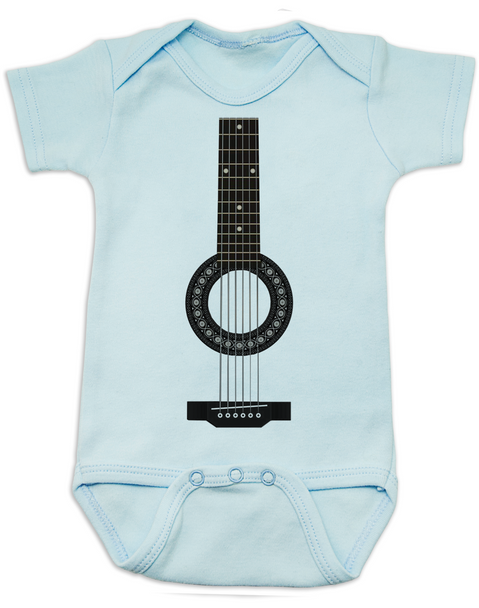 guitar baby Bodysuit, acoustic guitar baby onsie, baby rockstar, baby guitar costume, signed guitar, rock and roll baby, baby gift for musician parents, classic rock baby clothes, personalized acoustic guitar Bodysuit, blue