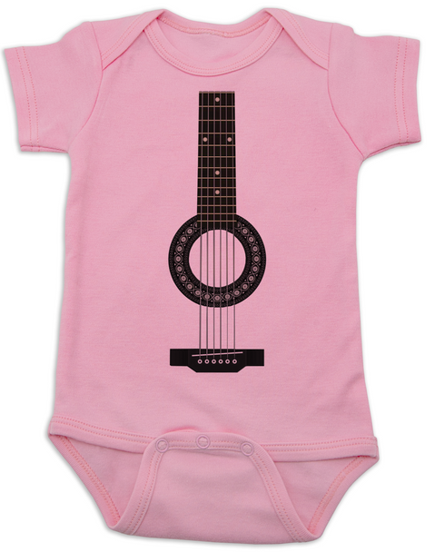 guitar baby Bodysuit, acoustic guitar baby onsie, baby rockstar, baby guitar costume, signed guitar, rock and roll baby, baby gift for musician parents, classic rock baby clothes, personalized acoustic guitar Bodysuit, pink