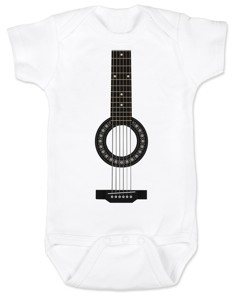 guitar baby Bodysuit, acoustic guitar baby onsie, baby rockstar, baby guitar costume, signed guitar, rock and roll baby, baby gift for musician parents, classic rock baby clothes, personalized acoustic guitar