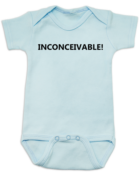 inconceivable baby Bodysuit, The Princess Bride movie quote, Punny Baby onsie, blue