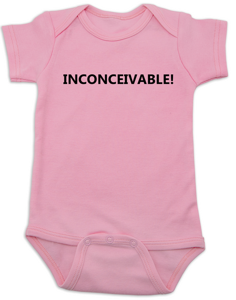 inconceivable baby Bodysuit, The Princess Bride movie quote, Punny Baby onsie, pink