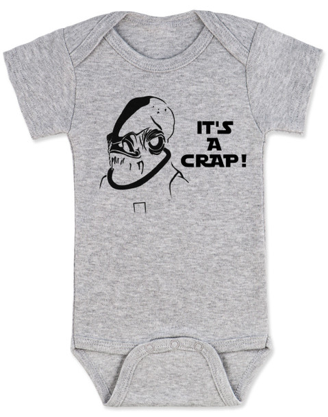 Admiral Ackbar baby Bodysuit, It's a crap baby Bodysuit, It's a trap, funny star wars baby onsie, punny baby, geeky baby gift, grey