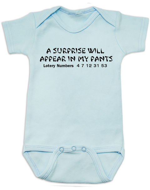 fortune cookie baby Bodysuit, a surprise will appear in my pants, baby fortune, lottery numbers baby onsie, blue
