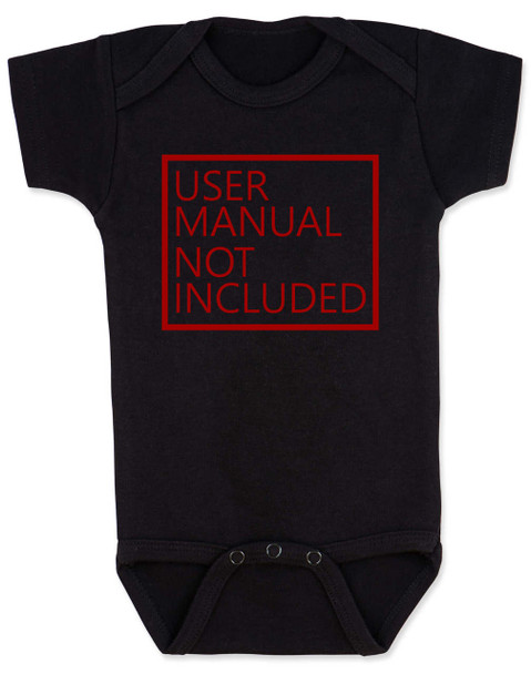User Manual Not Included Baby Bodysuit, clueless parents, no instructions included, black