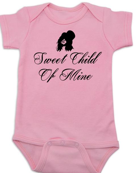 Slash, Sweet Child of Mine baby Bodysuit, guns and roses band onsie, pink