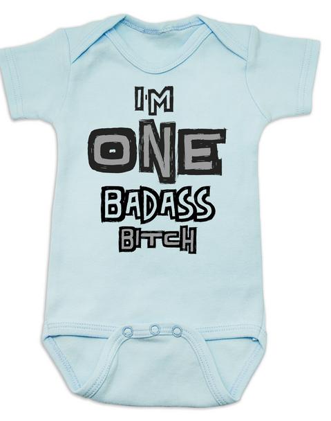 I'm ONE badass bitch baby Bodysuit, badass baby, little bitch, offensive birthday Bodysuit, badass bitch onsie, blue