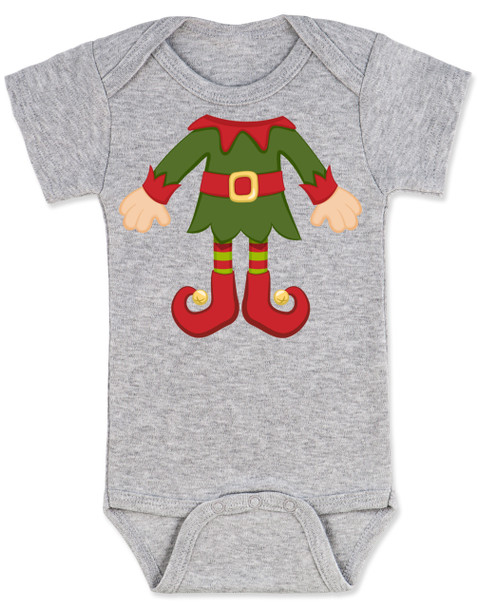 Elf Body Christmas Bodysuit, Little bodies baby Onsie, Santas little elf, Christmas party infant bodysuit, cute funny christmas baby clothes, santas helper, Elf Baby, grey
