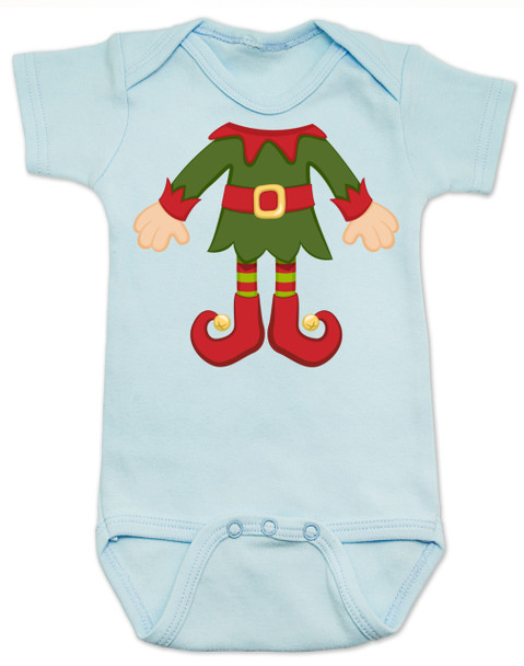 Elf Body Christmas Bodysuit, Little bodies baby Onsie, Santas little elf, Christmas party infant bodysuit, cute funny christmas baby clothes, santas helper, Elf Baby, blue