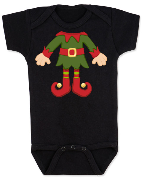 Elf Body Christmas Bodysuit, Little bodies baby Onsie, Santas little elf, Christmas party infant bodysuit, cute funny christmas baby clothes, santas helper, Elf Baby, black