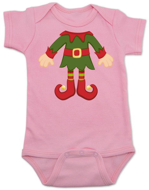 Elf Body Christmas Bodysuit, Little bodies baby Onsie, Santas little elf, Christmas party infant bodysuit, cute funny christmas baby clothes, santas helper, Elf Baby, pink