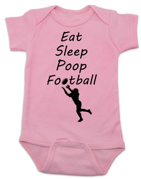 Eat sleep poop football baby Bodysuit, Funny Football Baby Onsie, Sports baby Bodysuits, daddy's football buddy baby Bodysuit, little football fan, future football fan, ready for football baby Bodysuit, pink