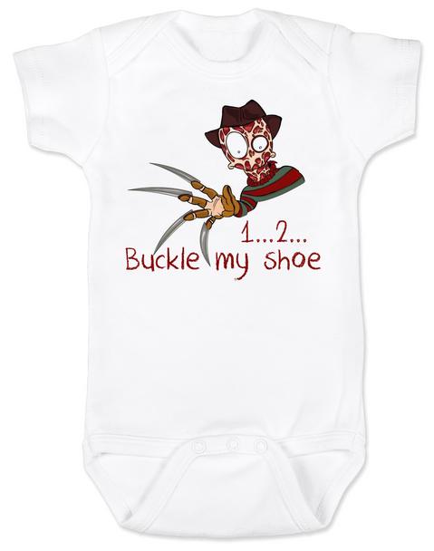 Freddy Krueger Halloween Baby Bodysuit, 1... 2... buckle my shoe, Freddy Baby bodysuit, Unique Halloween onsie, scary baby halloween Bodysuit, Freddy's Coming For You