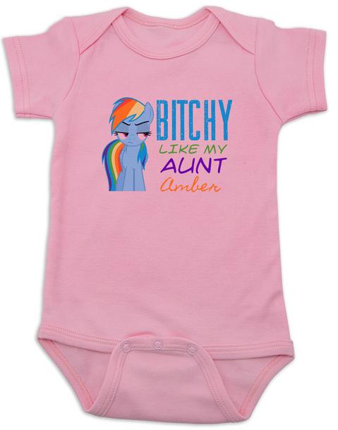 Bitchy like my aunt baby Bodysuit, Personalized cool aunt onsie, custom aunt baby bodysuit, personalized aunt baby Bodysuit, badass aunt, I love my aunt, my little pony, Rainbow Dash baby Bodysuit, pink