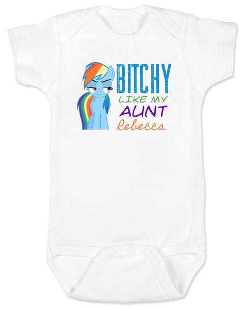 Bitchy like my aunt baby Bodysuit, Personalized cool aunt onsie, custom aunt baby bodysuit, personalized aunt baby Bodysuit, badass aunt, I love my aunt, my little pony, Rainbow Dash baby Bodysuit