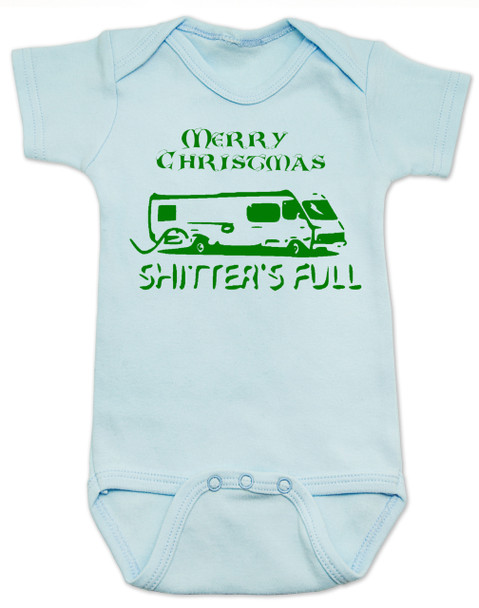 Shitter's full baby Bodysuit, Christmas Vacation movie baby clothes, funny christmas Bodysuit, funny christmas baby clothes, funny holiday baby Bodysuit, blue