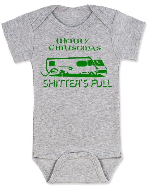 Shitter's full baby Bodysuit, Christmas Vacation movie baby clothes, funny christmas Bodysuit, funny christmas baby clothes, funny holiday baby Bodysuit, grey