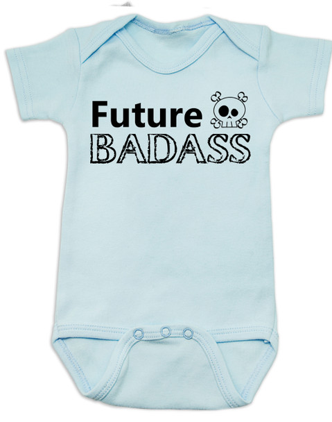 Future Badass Baby Bodysuit, skull baby onsie, personalize it with a custom name, boy, blue