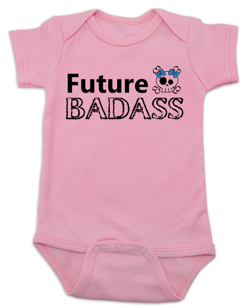 Future Badass Baby Bodysuit, skull baby onsie, personalize it with a custom name, girl, pink