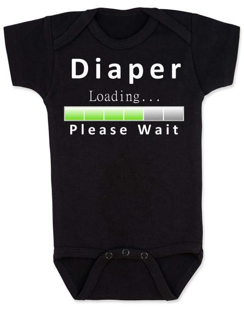 Diaper Loading baby Bodysuit, loading bar baby onsie, funny dirty diaper infant bodysuit, please wait, diaper loading, geeky parent baby gift, black