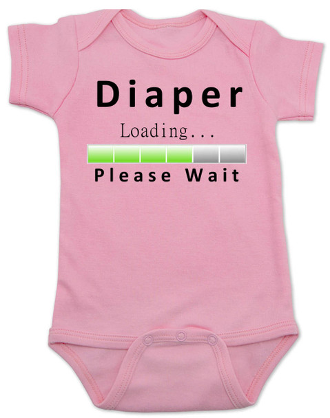 Diaper Loading baby Bodysuit, loading bar baby onsie, funny dirty diaper infant bodysuit, please wait, diaper loading, geeky parent baby gift, pink