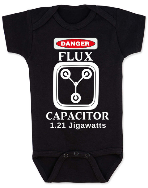 Back to the future baby Bodysuit, Flux Capacitor baby onsie, Marty Mcfly, Classic Movies, 80's Baby Bodysuit, 1.21 Gigawatts, black