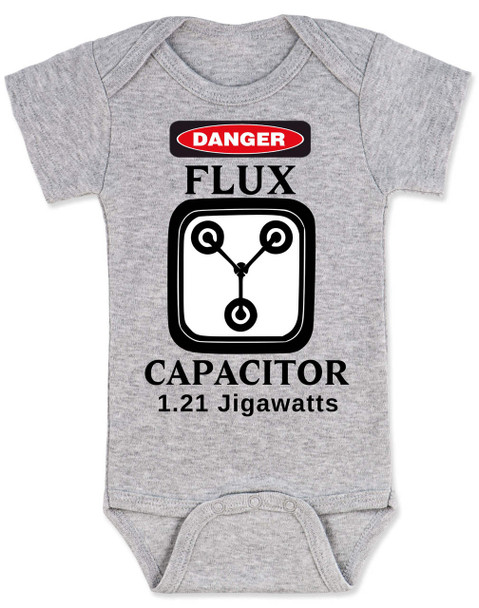 Back to the future baby Bodysuit, Flux Capacitor baby onsie, Marty Mcfly, Classic Movies, 80's Baby Bodysuit, 1.21 Gigawatts, grey