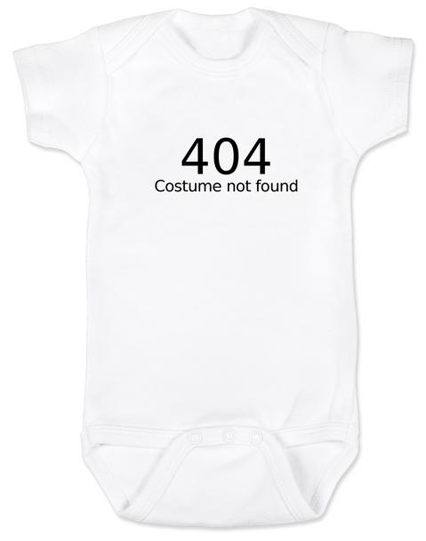 404 error costume not found baby Bodysuit, child 404 costume not found, computer error, Geeky Halloween baby Bodysuit, Nerdy baby halloween onsie