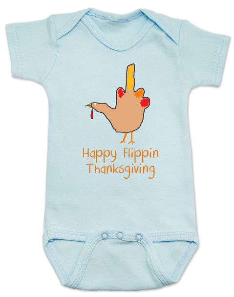 Hand Turkey Baby Bodysuit, Happy Flippin Thanksgiving, Funny Rude Thanksgiving Bodysuit, blue