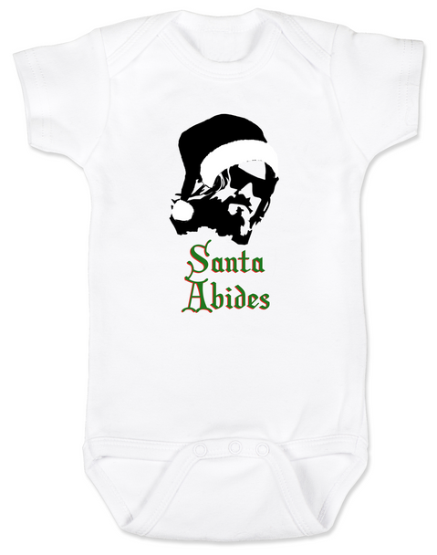 Santa Abides Christmas baby Bodysuit, The Dude holiday onsie, The Big Lebowski movie baby Bodysuit, santa clause dude Bodysuit, funny baby christmas clothes