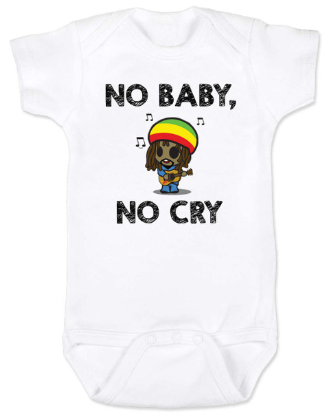 Bob Marley baby Bodysuit, No Baby No Cry, Reggae Music infant bodysuit, Rock n Roll Baby clothes, Jamaican Baby Lullaby, No woman no cry, Reggae onsie, white
