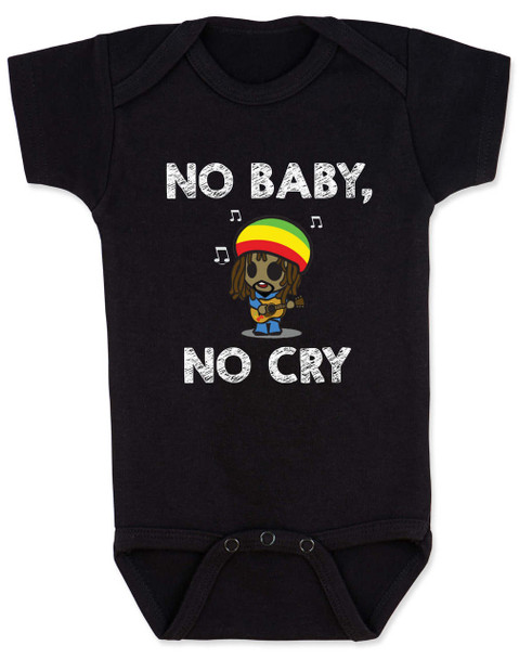 Bob Marley baby Bodysuit, No Baby No Cry, Reggae Music infant bodysuit, Rock n Roll Baby clothes, Jamaican Baby Lullaby, No woman no cry, Reggae onsie, black