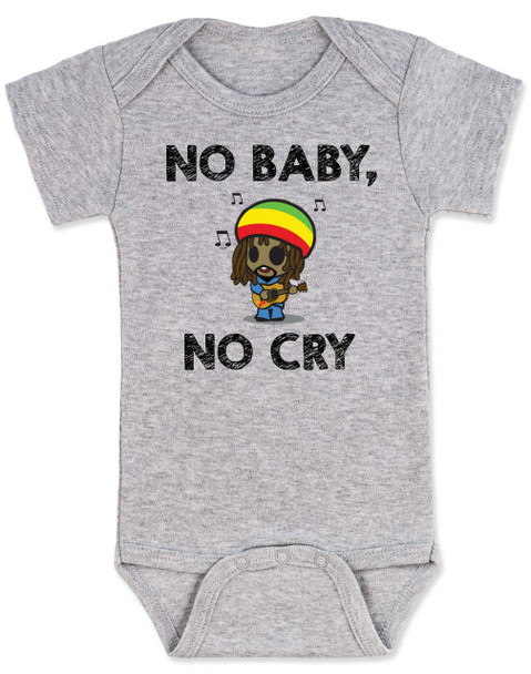 Bob Marley baby Bodysuit, No Baby No Cry, Reggae Music infant bodysuit, Rock n Roll Baby clothes, Jamaican Baby Lullaby, No woman no cry, Reggae onsie, grey