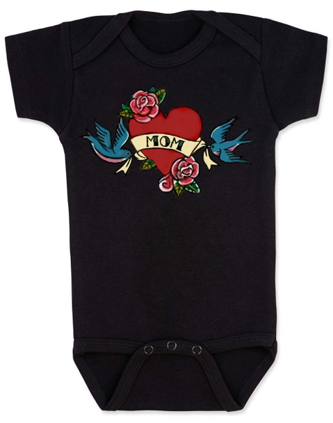Mom Tattoo Bodysuit, Rock-a-Billy Baby, I love my mommy bodysuit, My mommy rocks, Badass mom, Valentines day baby onsie, Valentine's Baby, Rock n Roll baby tattoo, Mother's day baby Bodysuit, black