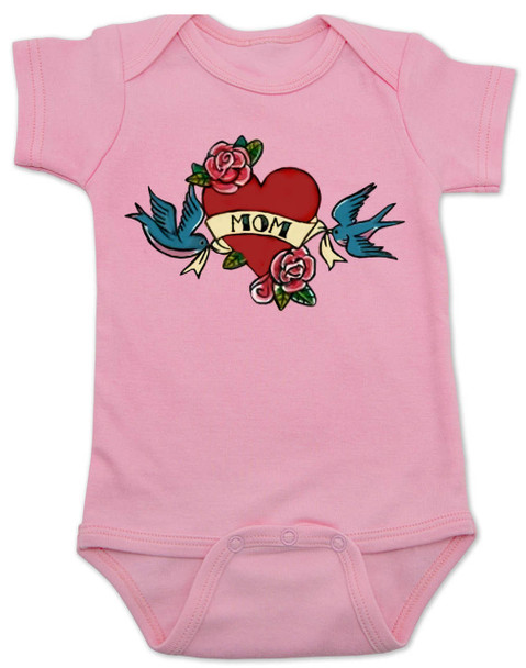 Mom Tattoo Bodysuit, Rock-a-Billy Baby, I love my mommy bodysuit, My mommy rocks, Badass mom, Valentines day baby onsie, Valentine's Baby, Rock n Roll baby tattoo, Mother's day baby Bodysuit, pink