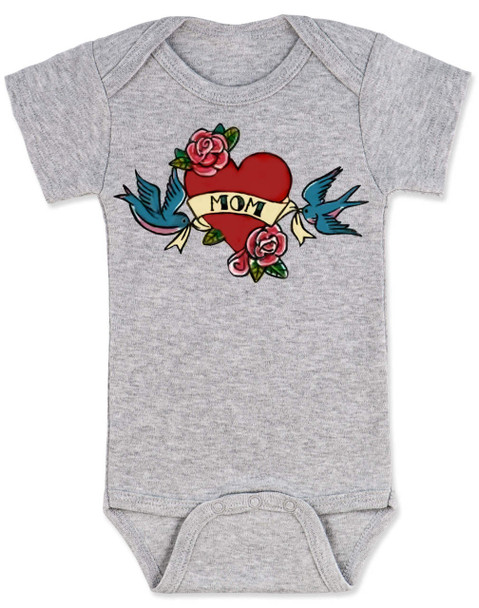 Mom Tattoo Bodysuit, Rock-a-Billy Baby, I love my mommy bodysuit, My mommy rocks, Badass mom, Valentines day baby onsie, Valentine's Baby, Rock n Roll baby tattoo, Mother's day baby Bodysuit, grey