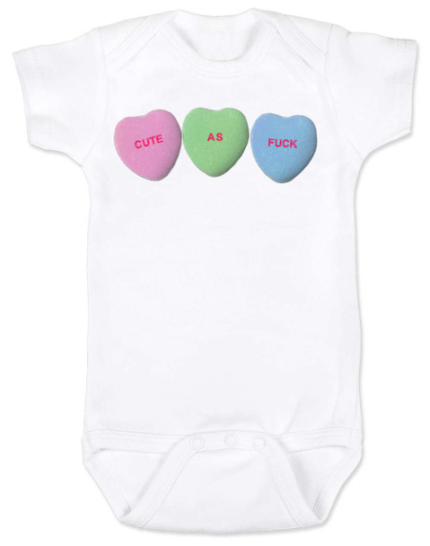 Cute as F baby Bodysuit, Funny Candy Hearts Bodysuit, Valentines Day baby bodysuit, Valentine's Day hearts, Baby valentine creeper, Offensive candy heart baby onsie, white