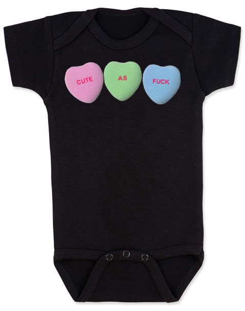 Cute as F baby Bodysuit, Funny Candy Hearts Bodysuit, Valentines Day baby bodysuit, Valentine's Day hearts, Baby valentine creeper, Offensive candy heart baby onsie, black