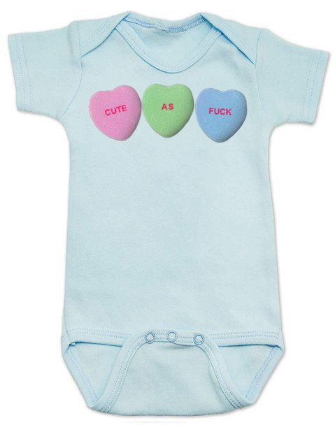 Cute as F baby Bodysuit, Funny Candy Hearts Bodysuit, Valentines Day baby bodysuit, Valentine's Day hearts, Baby valentine creeper, Offensive candy heart baby onsie, blue